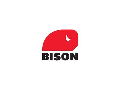 Bison fitness sport red bison minimal idea brand logos logo