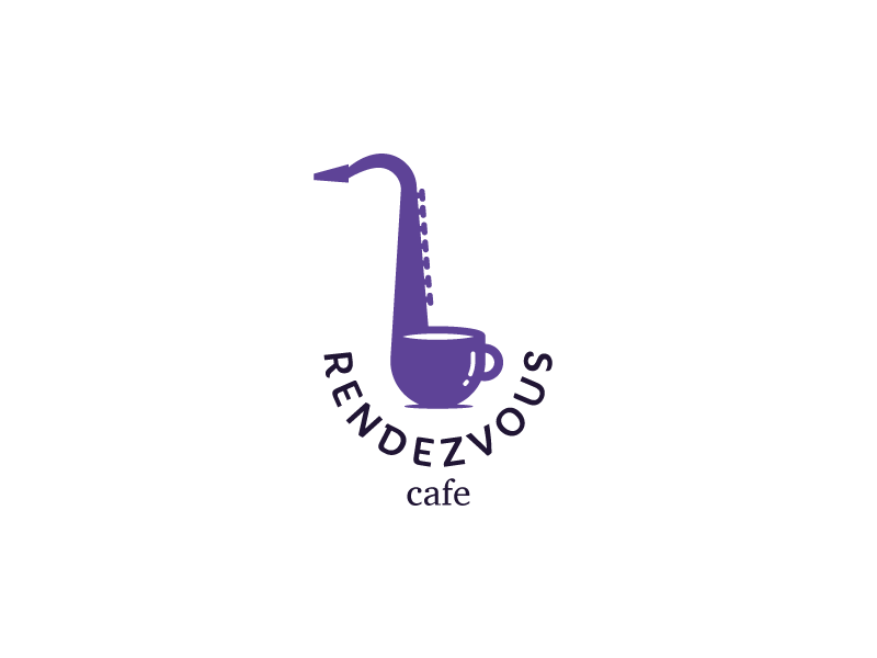 Rendezvous cafe cup tea saxophone coffee cafe idea brand mark logos logo