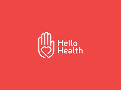 Hello Health line brand health heart hello hand place medicine minimal logos logo