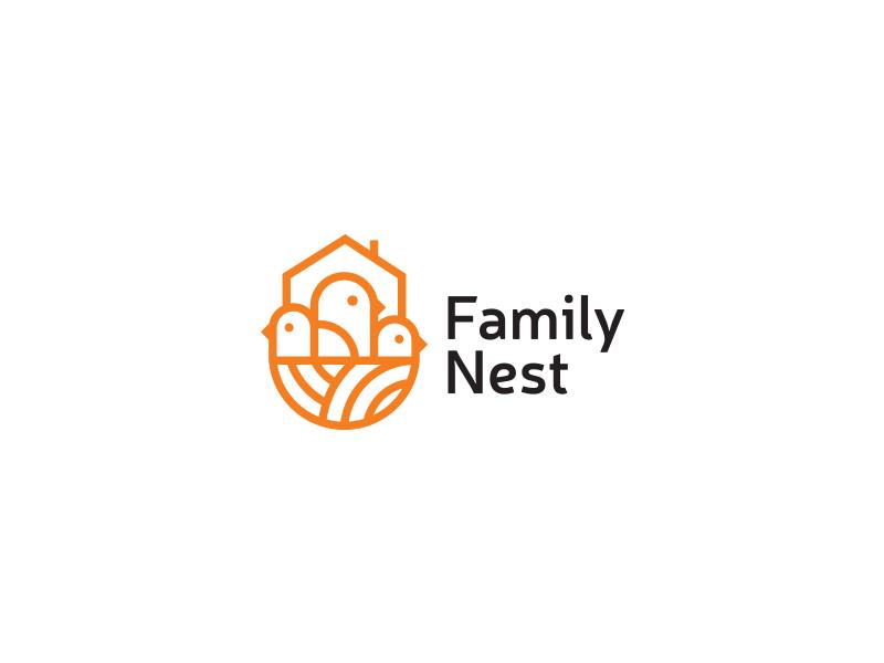 Family Nest family nest estate home bird black flat branding minimal logos mark idea brand logo