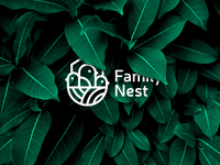 Family nest logotype family green white flat idea brand mark line minimal estate nest bird logos logo