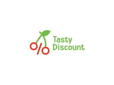 Tasty Discount percent store minimalism minimal branding brand shoppping shop discount leaf green cherry tasty logo
