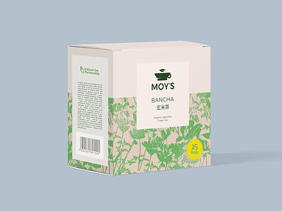 Full Branding MOY'S BANCHA branding vintage simple pattern box tea packaging