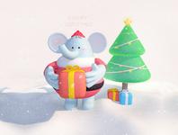Merry Christmas soolco present gift characterdesign character merry christmas c4d illustration