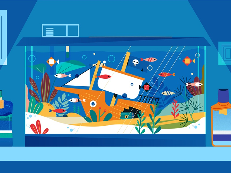 Think Tank flat motion animation storyboard intro cool fun illustrator ads promo video commerical think tank ship pirate fish character design illustration