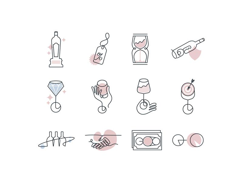 Vinovest Icon set dribbble wine investment set icon simple flat lineart new uxui webdesign branding vector design illustration