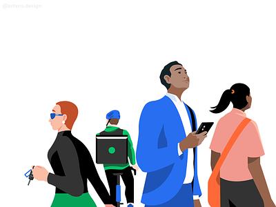 Celebrate Your First Trip negative space branding campaign illustrator people uxui webdesign character illustration ubereats uber design uber