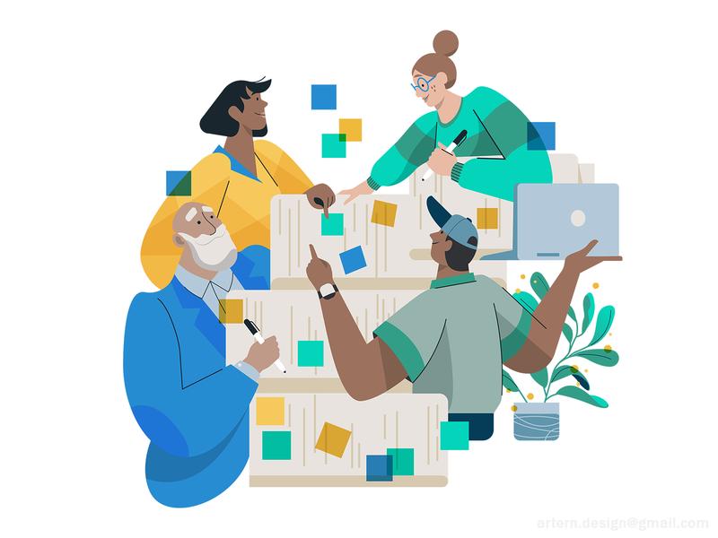 BlackAd Team_ Homepage illustration uxui webdesign branding peeps vector spot tech characters cute collaboration writers copy team homepage