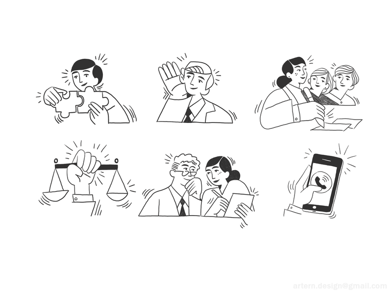 Law firm Concepts uxui peeps branding exploration character lineart blackandwhite illustration illustrator artistic minimalistic sketches hand drawn conceptual editorial concept