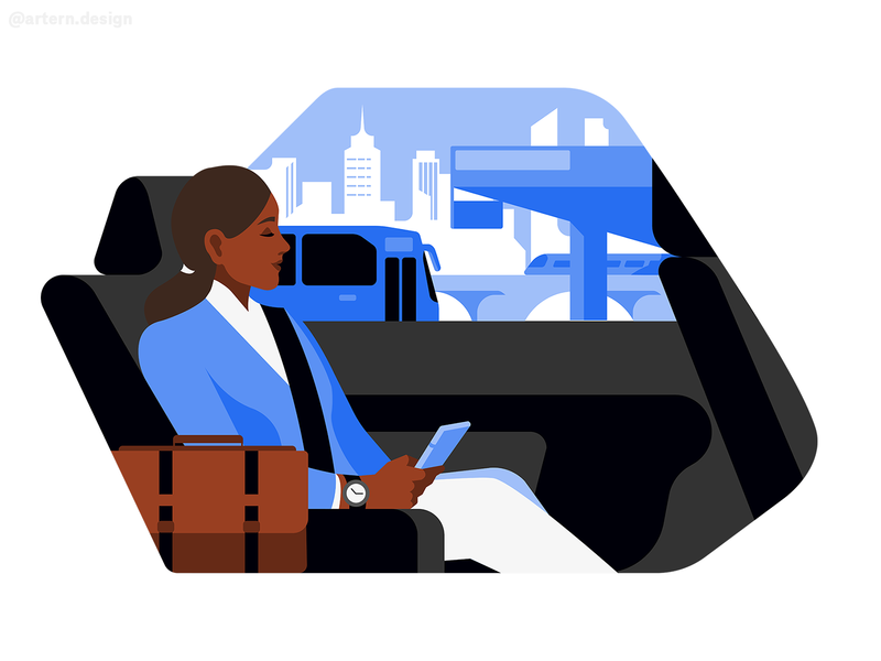 Crowded Commute @Uber spot branding flat uxui peeps webdesign graphic vector character illustration