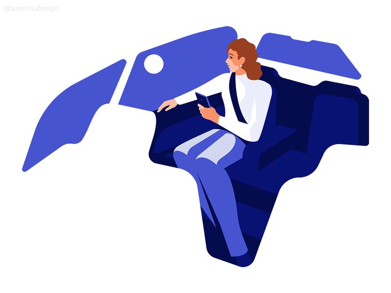Extra Room @Uber webdesign negativespace car woman flat branding peeps exploration vector character design illustration