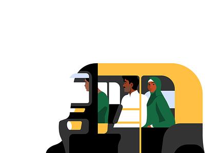 @Uber Tuktuk designer uber campaign characterdesign illustrator folks people monochrome flat uxui graphic negative space vector character design illustration