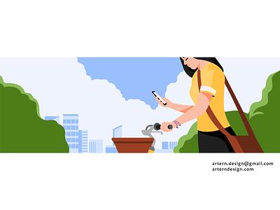 @Uber Rider commercial evergreen girl woman bike campaign illustrator app uber branding graphic vector design character illustration