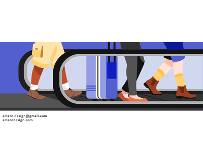 @Uber Travel branding vector illustrator commercial ads campaign airport design.travel cycle walk people uber character illustration