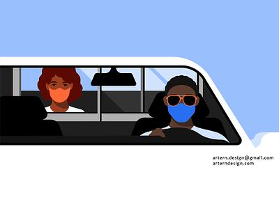 @Uber Safety illo artwork mask covid safety car designer illustrator ux ui spot branding graphic vector design character illustration