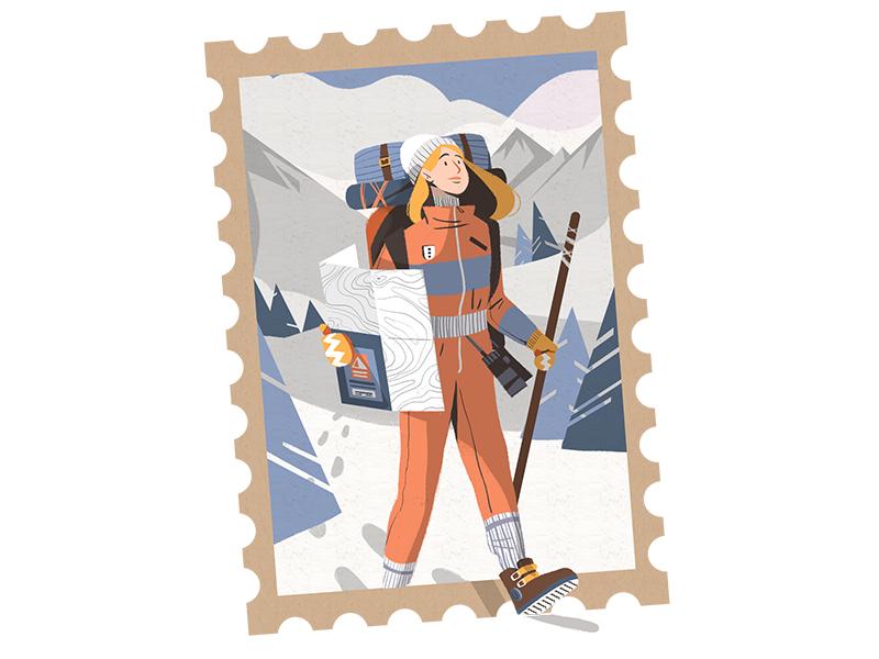 Hiker flat exploration design illustration charachter design girl hiker winter snow