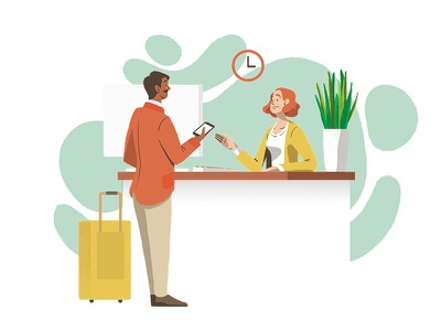 Hotel Check-in travel phone uxui charactedesign design illustration web checkin spot hotel