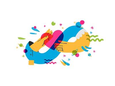 Keep in Touch startup app love vibrant hand hearth cute multiply flat vector exploration characterdesign design graphic web illustration spot uxui doodle space