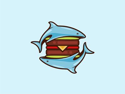 Burger Fish. fish burger symbol logo icon vector illustration design