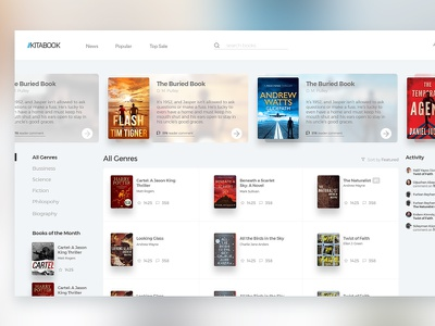 "Social Books ""KITABOOK"" background blur homepage slider ui library book"