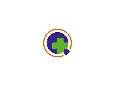Q pharma logo design branding logotype logo ambulance hospital redcross cross global planet earth letter q healthcare health pharmacist pharma pharmacy