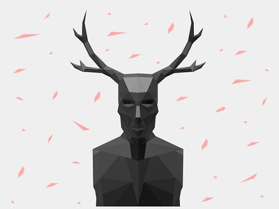 The Stag hannibal shapes minimal lowpoly show tv