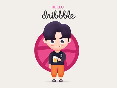 Hello dribbble flat dribbble hello people man beer pinkman pink ui design logo illustration