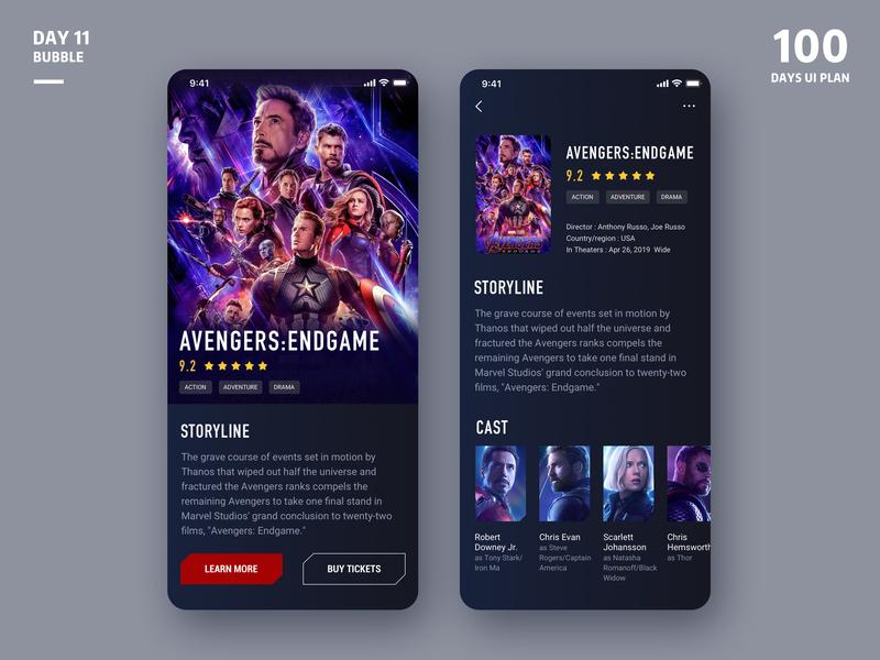 Movie-App ux app avengersendgame cinema movie application mobile ui design