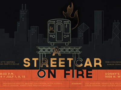 A Streetcar On Fire linework vector chicago streetcar illustration