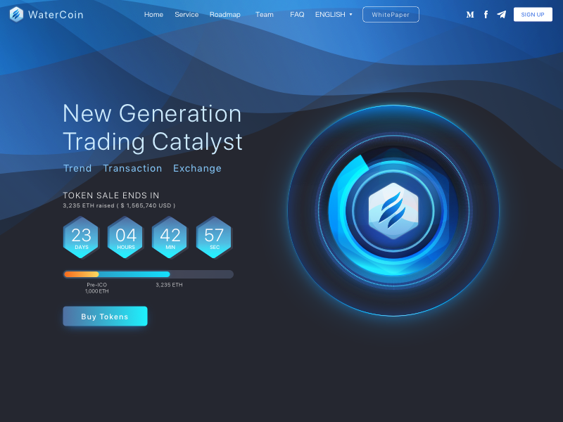 WaterCoin ICOpage water design web ui cryptocurrency sketch