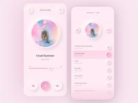 Pastel Neumorphism shadow minimal redesign round mobile ui mobile gradient taylor swift lover pink music app design ui neumorphism