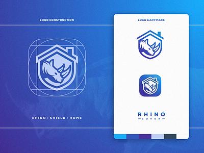 RHINO COVER app business company artismstudio grid icon illustrator brand identity creative artwork graphicdesign logo logos rhino logo insurance home shield cover rhino
