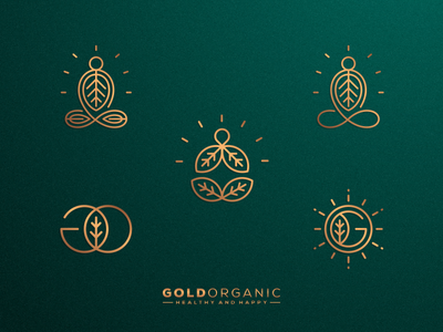 Gold Organic | Which one your favorite? business artwork artismstudio graphicdesign brandidentity branding illustration vector logos logo monoline lineart luxury food ghee butter nature leaf organic gold
