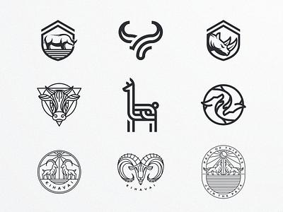 ANIMAL CHARACTER LOGOS artismstudio monoline lineart design artwork icon ux ui branding company business graphicdesign vector illustration logo logos character animal