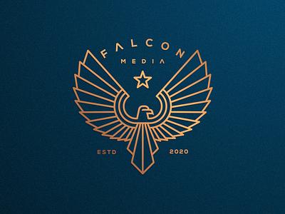 FALCON MEDIA artismstudio ux ui creative artwork graphicdesign clothing media company business identity branding illustration luxury logo monoline lineart bird eagle falcon