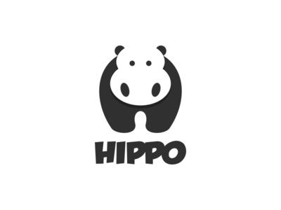 Hippo letter H artwork creative photoshop coreldraw illustrator graphic design brand identity negative logo logo icon lettermark hippo