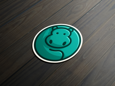 HippoRoll Sticker artwork creative photoshop coreldraw illustrator graphic design brand identity sticker logo icon forsale hippo
