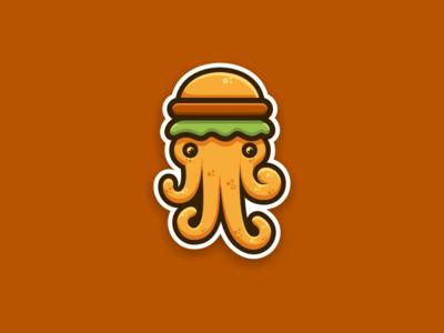 OctoBurger artwork creative photoshop coreldraw illustrator graphic design brand identity sticker logo icon burger octopus
