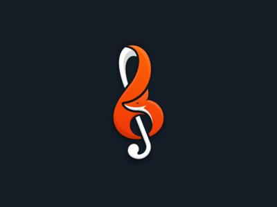 Fox Music 2 artwork coreldraw illustrator graphic design brand identity business card logo creative music fox