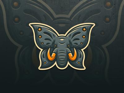 elephant + butterfly artwork creative photoshop coreldraw illustrator graphic design brand identity tshirt logo icon esport elephant
