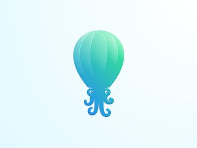 OctoFly artwork creative photoshop coreldraw illustrator graphic design brand identity sticker logo icon airballoon octopus