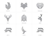 Animal line art logos