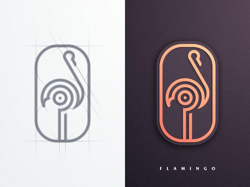 Flamingo forsale design icon vector illustrator creative artismstudio company business artwork graphicdesign brandidentity branding logo simple luxury monoline grid lineart flamingo
