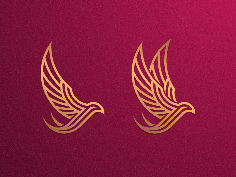 Left or Right?? coreldraw artismstudio vector design branding grid icon illustrator graphic design brand identity creative artwork logo gold luxury monoline lineart animal bird swallow