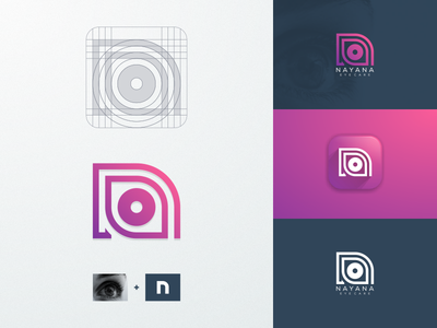 Nayana artismdesign company business coreldraw illustrator icon creative artwork graphic design identity branding health monogram monoline line art grid luxury logo eyecare eye