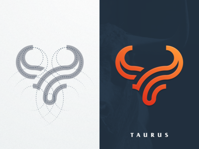 TAURUS artismstudio vector graphicdesign brand identity creative artwork forsale logos logo company business simple monogram monoline grid lineart animal bull taurus