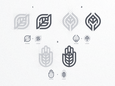 Hand + Leaf logo concept artwork creative artismstudio business company brandidentity branding luxury simple monogram monoline grid lineart project logo logos leaf logo cancer leaf hand