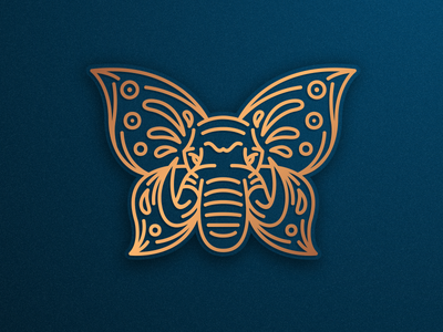 Elephant + Butterfly icon illustrator graphic design brand identity creative artwork elegant logo monoline line lineart vector elephant logo butterfly elephant