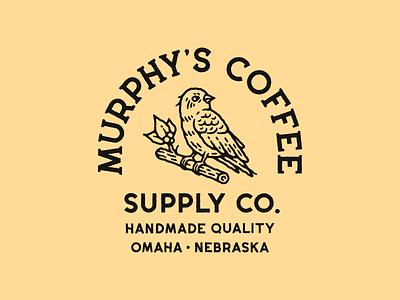 Murphy's Coffee hand drawn branding vintage logotype badge logo typography