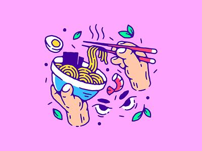 Ramen noodles artwork hand drawn vector illustration